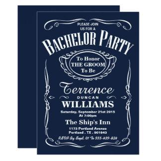 Trendy Marine-Typografie-Junggeselle-Party 12,7 X 17,8 Cm Einladungskarte