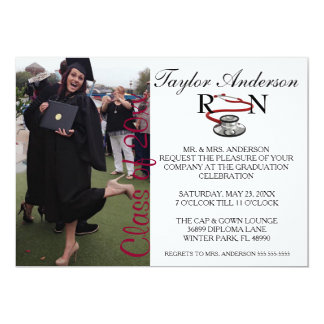Trendy medizinische RN-SchulAbschluss-Mitteilung 12,7 X 17,8 Cm Einladungskarte