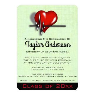 Trendy medizinische SchulAbschluss-Mitteilung 12,7 X 17,8 Cm Einladungskarte