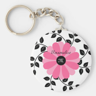 Trendy mit Monogramm rosa und schwarze Blume mit N Schlüsselanhänger
