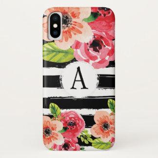 Trendy Monogramed Schwarz-weiße Streifen-Blumen iPhone X Hülle