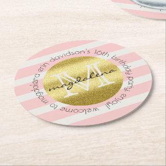 Trendy Monogramm-GoldGlitter erröten rosa Streifen Runder Pappuntersetzer