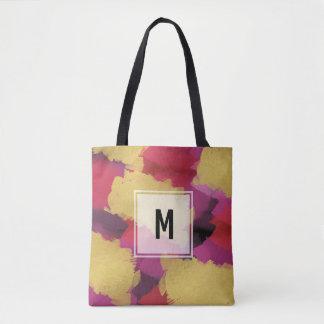 Trendy Monogrammwatercolor-Farbe gebürstete Tasche