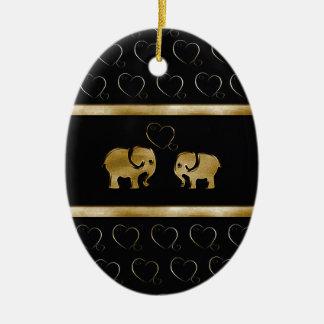 Trendy niedlicher schwarzer /golden-Luxuselefant Keramik Ornament