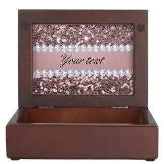 Trendy Rosen-GoldImitat-Glitter und Diamanten Erinnerungsschachteln