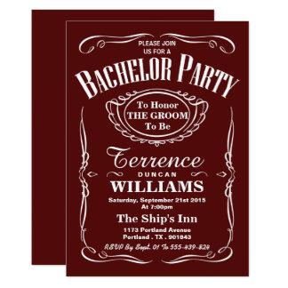 Trendy rotes Typografie-Junggeselle-Party 12,7 X 17,8 Cm Einladungskarte