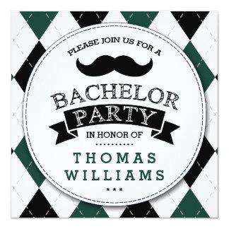 Trendy Schnurrbart-Junggeselle-Party Einladungen