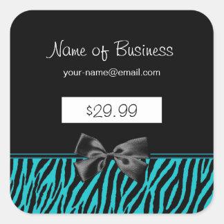 Trendy schwarze und aquamarine  Quadrat-Aufkleber