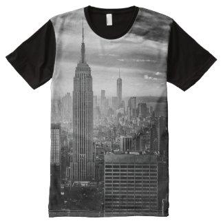 Trendy Schwarzweiss-New- YorkShirt T-Shirt Mit Bedruckbarer Vorderseite
