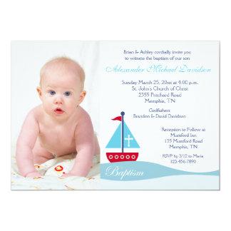 Trendy Segelboot-Taufe-Foto-Einladung 12,7 X 17,8 Cm Einladungskarte