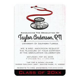 Trendy Stethoskop-medizinische SchulAbschluss 12,7 X 17,8 Cm Einladungskarte