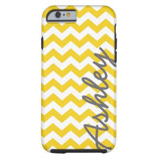 Trendy Zickzack Muster mit Namen - gelbes Grau Tough iPhone 6 Hülle