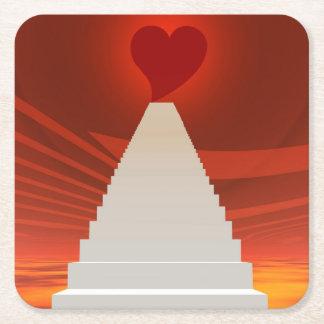 Treppe zur Liebe Rechteckiger Pappuntersetzer