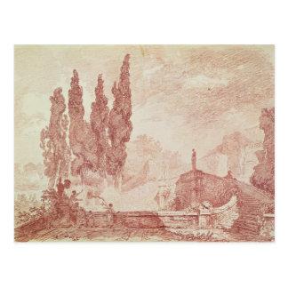 Treppenhaus in den Gärten von Landhaus d'Est Postkarte