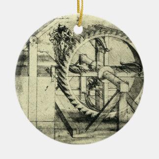 Tretmühle angetriebener Crossbow durch Leonardo da Keramik Ornament