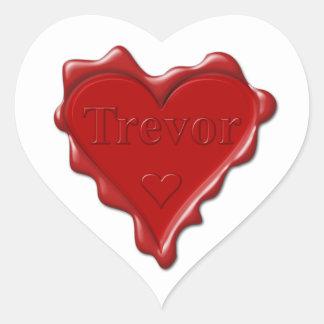 Trevor. Rotes Herzwachs-Siegel mit Namenstrevor Herz-Aufkleber