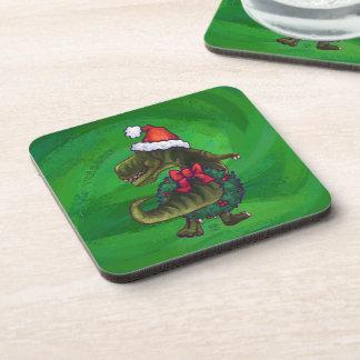 TRex in der Weihnachtsmannmütze auf Grün Untersetzer