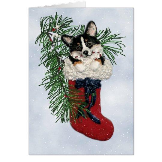 Tri FarbeCorgi in der WeihnachtsStrumpf-Karte Grußkarte