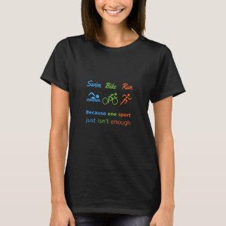 Triathlonsportzitat-Schwimmen-Fahrradlauf T-Shirt