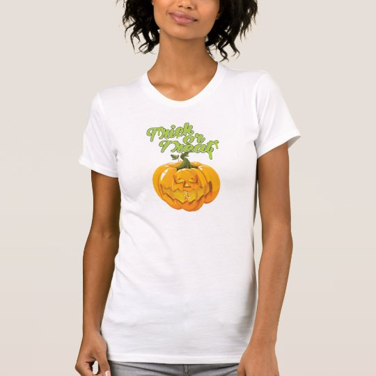 Trick-oder Leckerei-Cartoon-Kürbis T-Shirt
