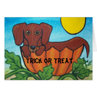 Trick-oder Leckerei-Dackel-Halloween-Karte Karte