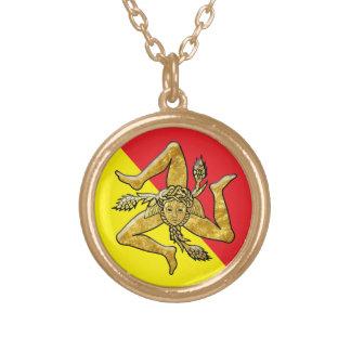 Trinacria sicilien en or collier plaqué or