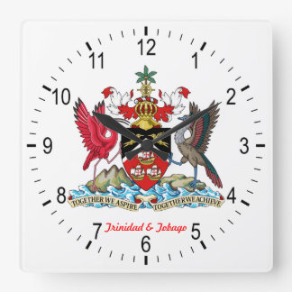 Trinidad- u. Tobago-Wappen Quadratische Wanduhr