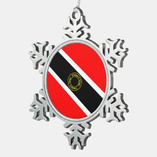 Trinidad und Tobago Schneeflocken Zinn-Ornament