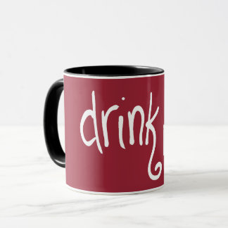Trinken Sie mich (Scharlachrot-rev) Tasse