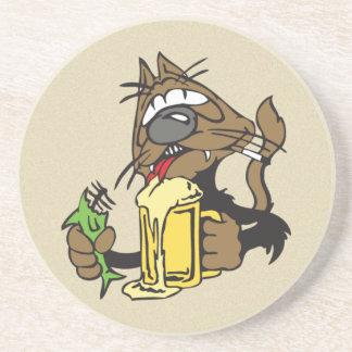 trinkende Katze des Bieres Getränkeuntersetzer