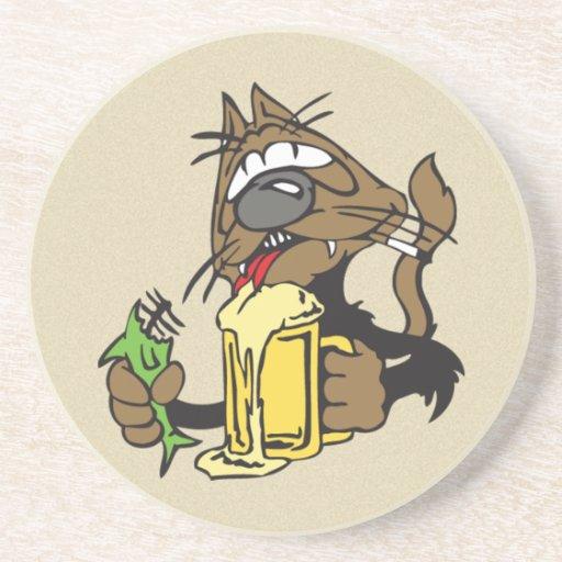 trinkende Katze des Bieres Untersatz