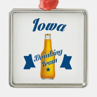 Trinkendes Team Iowas Silbernes Ornament
