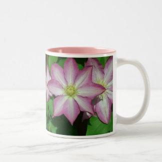 Trio der Clematis-rosa und weißen Frühlings-Blumen Zweifarbige Tasse