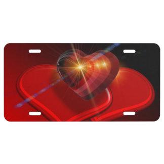Trio der roten Valentinsgruß-Herzen US Nummernschild