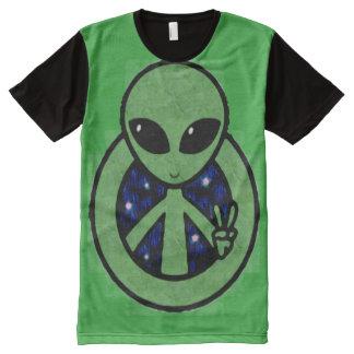 Trippy grünes alien-Friedenszeichen T-Shirt Mit Bedruckbarer Vorderseite
