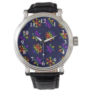 Trippy Schneeflocken Uhr