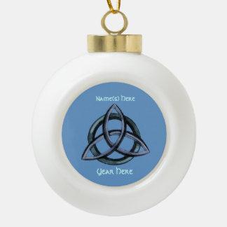 Triquetra (blau) keramik Kugel-Ornament