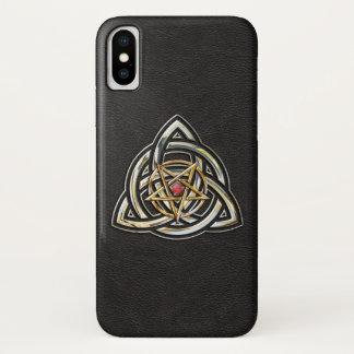 Triquetra Pentagram auf Schwarzem iPhone X Hülle