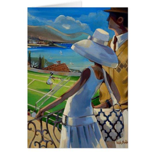 Trish Biddle - Tennis auf dem Riviera Grußkarte