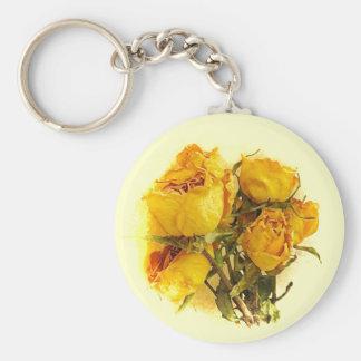 Trockene gelbe Rosen-Blumen Schlüsselanhänger