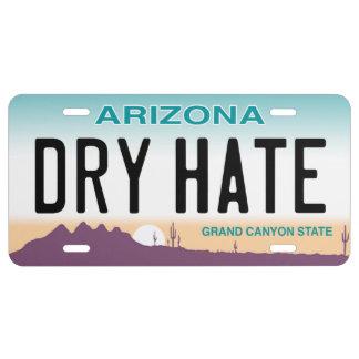 Trockenes Hass-Kfz-Kennzeichen Arizonas US Nummernschild