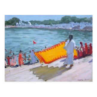Trocknender Sari Pushkar Postkarten
