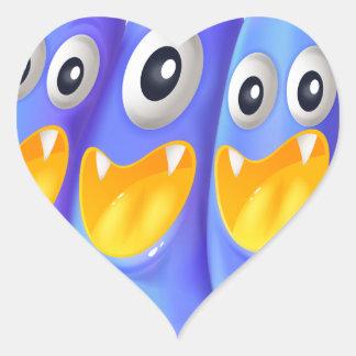 Trois monstres bleus espiègles sticker cœur
