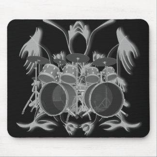 Trommel-Ausrüstung u. Stammes- Grafik (b u. W) - Mousepad