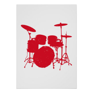 Trommel-Ausrüstungs-Silhouette Poster