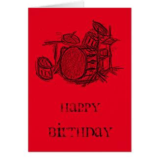 Trommelausrüstungs-Rockband-Schmutzgeburtstag Grußkarte