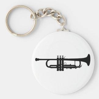 Trompete-Silhouette, Messingmusikinstrument, Horn Standard Runder Schlüsselanhänger