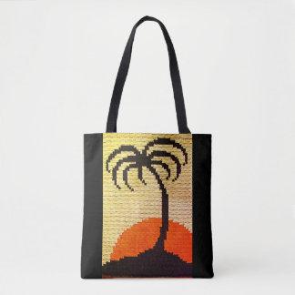 Tropen-Palme-Silhouette-Häkelarbeit-heller Tasche