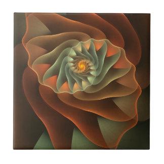 Tropicanna orange abstraktes Blumen Kleine Quadratische Fliese