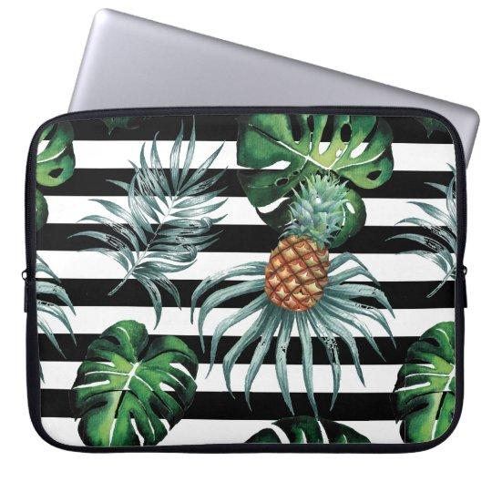 Tropische Ananas des Aquarells mit schwarzen Laptop Sleeve